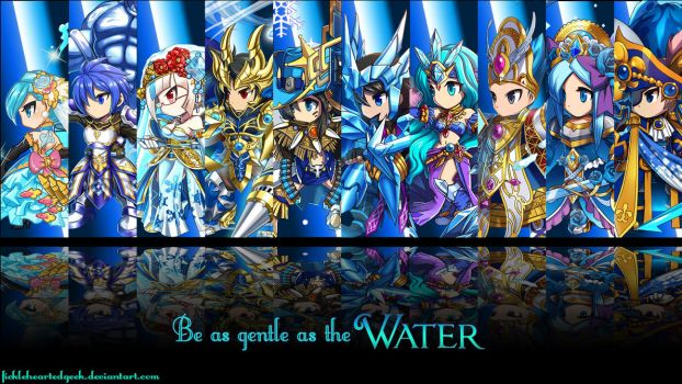 Brave Frontier Water Units Wallpaper by fickleheartedgeek