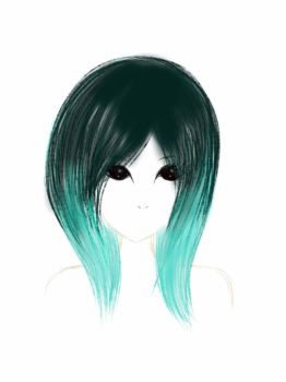 Girl with turquoise dip-dyed hair by VynncySkullie
