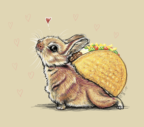 Little bunny with a taco on its back by shivikai
