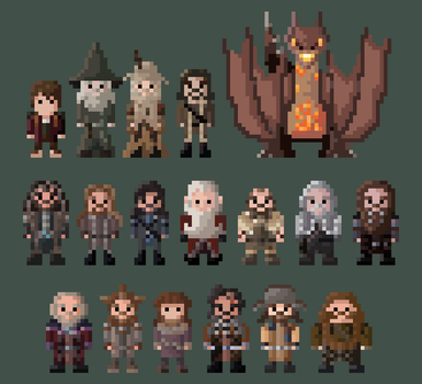 The Hobbit Characters 8-Bit by LustriousCharming