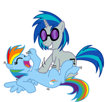 DJ-P0N3 tickling Rainbow Dash by AngeOMGWTFBBQ