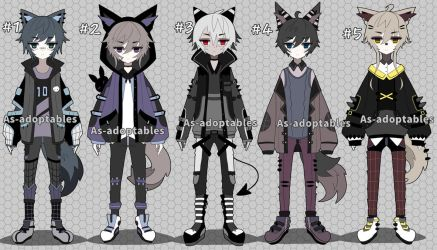 Kemonomini boy adoptable batch open by AS-Adoptables