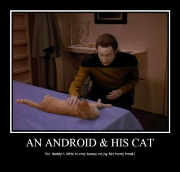 An Android and His Cat by LadyData