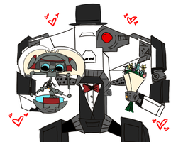 Loader Bot and Gortys get married by Cayluhhh