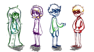 Homestuck Doodles - Cuties in Hoodies by abbic314