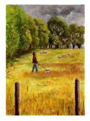 Walking through Fields Of Gold - Oil Painting by BigAlien