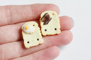 Eggs and BaconToast Polymer Clay Friendship Charms by xoxRufus