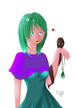 Green Haired Girl with Snake by NikaStryx
