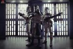 Clonetrooper Wolf Pack and Sandtrooper by andrewhitc