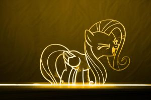 Fluttershy Acrylic LED Picture by steeph-k