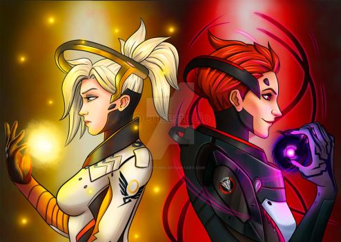 Mercy and Moira by EniseStudio