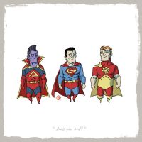 Little Friends-Superman and Gladiator and Hyperion by darrenrawlings
