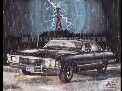 Supernatural 1967 Chevy Impala At Night by FastLaneIllustration
