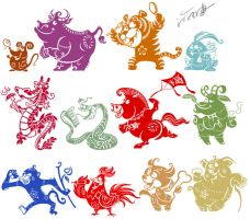 character of Chinese zodiac by benryyou