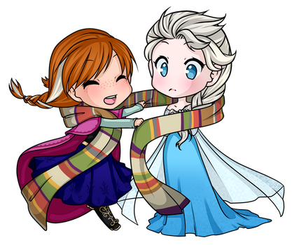 Commission: Elsa + Anna by electrorobo