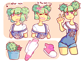 Girl Cactus Ref Sheet by Smol-Png