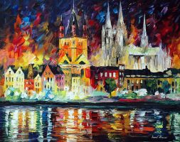 Night In Cologne by Leonid Afremov by Leonidafremov