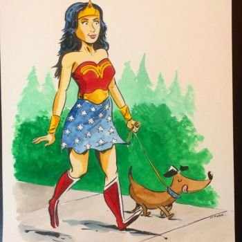 Wonder Woman, Wiener Dog by littlereddog
