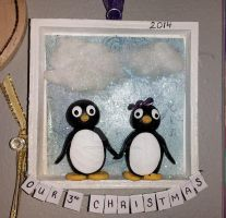 Our 3rd Christmas Together Penguin Love Ornament by MikeysGrrrl
