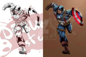 Captain America_Line art and Color comparison by debuhista
