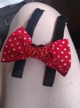 Lady Bug Dog bow by 4theloveofPaws
