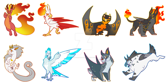 OTA: Fire and Ice Adopts (CLSOED) by GlitchedBat