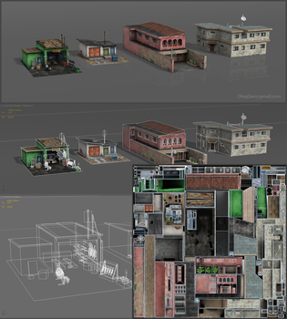 GAME_SET01--ALL. Set of buildings for racing game. by z-Gen