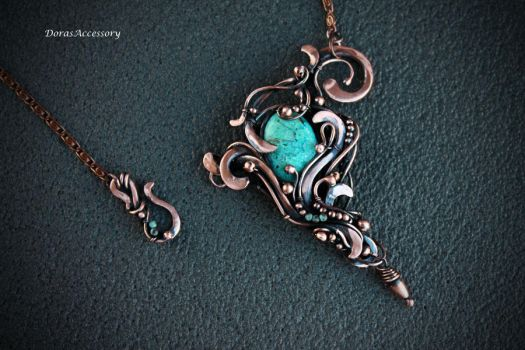 copper necklace with chrysocolla by MDorothy