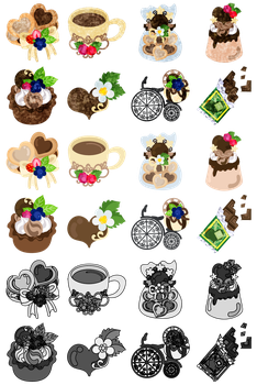The icons of cute chocolate sweet by atelier-bw