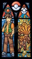 Brock and Vulpix Stained Glass Window Print by nenuiel