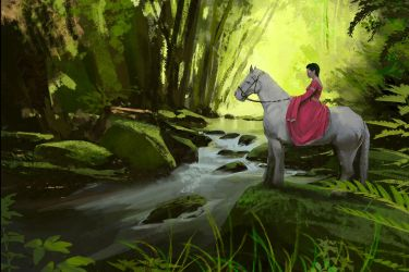 Horse and Stream study by jonathanguzi