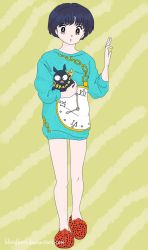 Akane Tendo in Turquoise Oversize Sweater by bloodberi