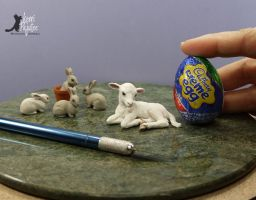 Mini Cottontails and Lamb work-in-progress sculpts by Pajutee
