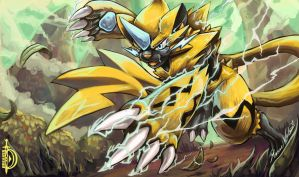 The Lightning Strike in Alola! - Zeraora by DawnbreakerDESIGNS