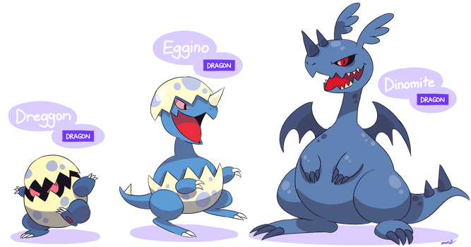 FAKEMON: Dreggon, Eggino, Dinomite [UPDATED] by Master-Rainbow