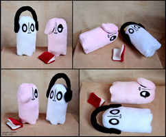 Napstablook and Happstablook plushies by SewYouPlushieThings