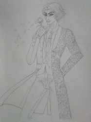 Lee Chaolan smelling the rose_T7 (uncolored) by Livia25