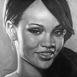 Rihanna - oil on canvas 16 x16 inches by Ajda0123