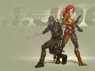 snake-eyes and scarlett by chesterocampo