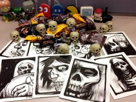 halloween candy, skulls and sketches for coworkers by cadaverperception