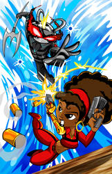 Black Manta Vs Misty Knight by kudoze