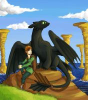 Hiccup and Toothless by kelinor
