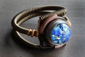 Steampunk Ring - Vintage Blue Harlequin glass by CatherinetteRings