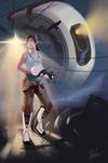 Portal 2 - Chell and Glados Poster by Khan-the-cake-lover