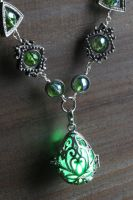 Green Glowing Drop Necklace by CatherinetteRings