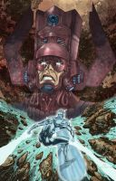 Galactus vs Silver Surfer by Clu-art