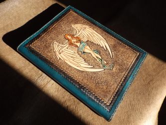Cross angel  Leather tooled book by CreationsMJF