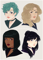 Outer Senshi Hairswap by TwinklePowderySnow