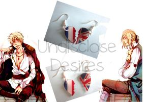 APH - France x England - Half Heart Earrings by Undisclose--Desires