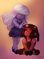 [ Steven Universe ] Ruby and Sapphire by nightlocksmoothie